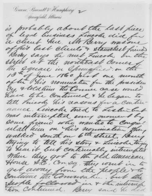 J. O. Humphrey to John G. Nicolay, Monday, July 05, 1886  (Sends Lincoln documents)