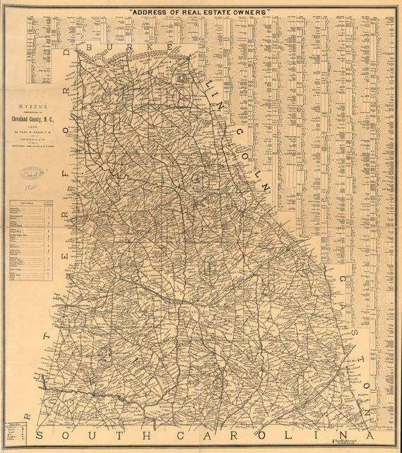 Kyzer's complete map of Cleveland County, N.C. : 1886 /