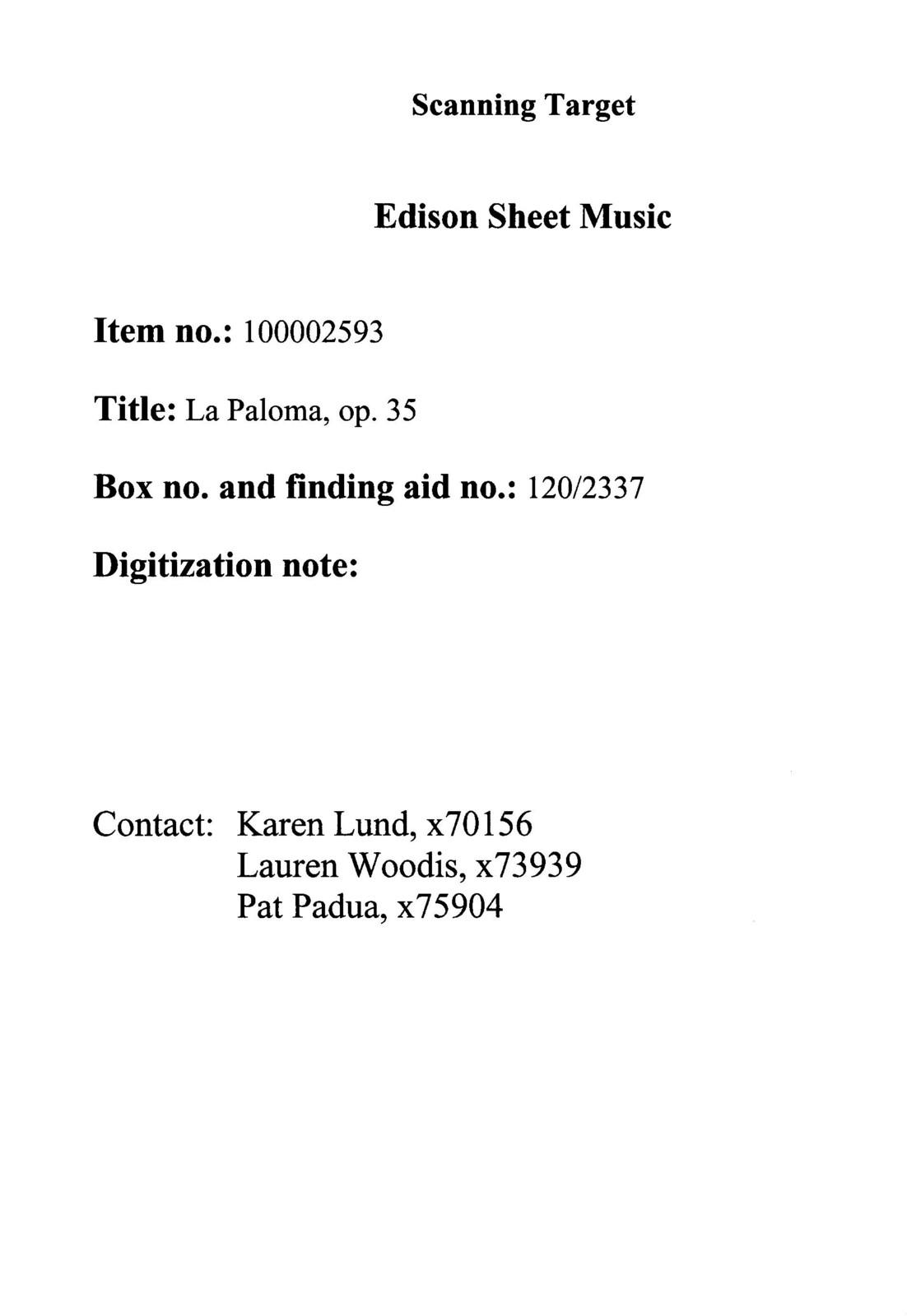 La  Paloma, op. 35