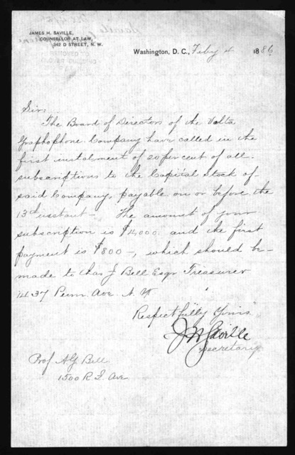 Letter from James H. Saville to Alexander Graham Bell, February 4, 1886