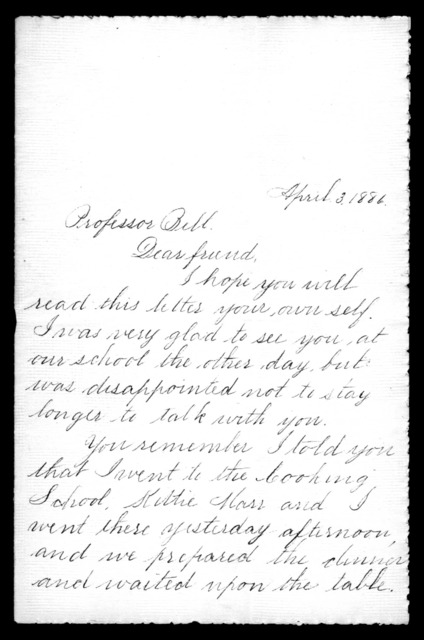 Letter from Lottie F. Bailey to Alexander Graham Bell, April 3, 1886