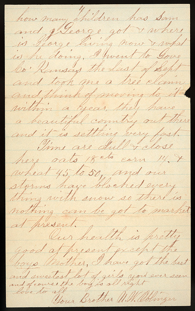 Letter from Uriah W. Oblinger and Laura I. Oblinger to Charlie Thomas and Thomas Family, January 17, 1886