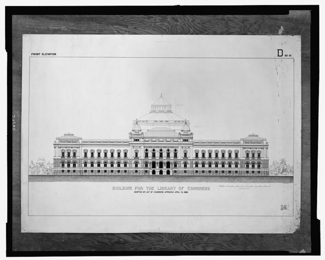 [Library of Congress, Washington, D.C. Exterior elevation, D series]