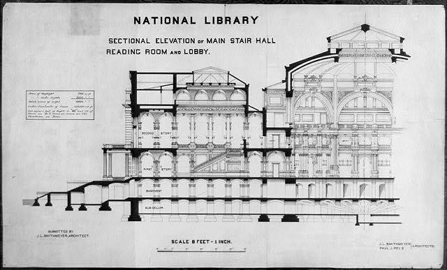 [Library of Congress, Washington, D.C. Sectional elevation: main stair, lobby, reading room]