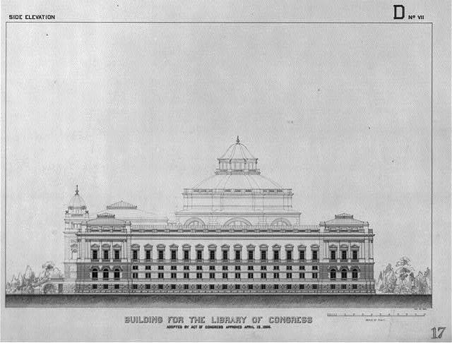 [Library of Congress, Washington, D.C. Side elevation, D series]