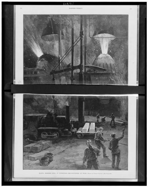 Making bessemer steel at Pittsburgh - the converters at work / drawn by Charles Graham.