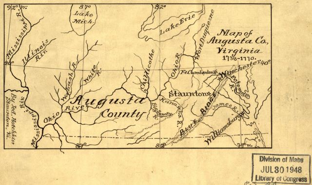 Map of Augusta Co., Virginia, 1738-1770