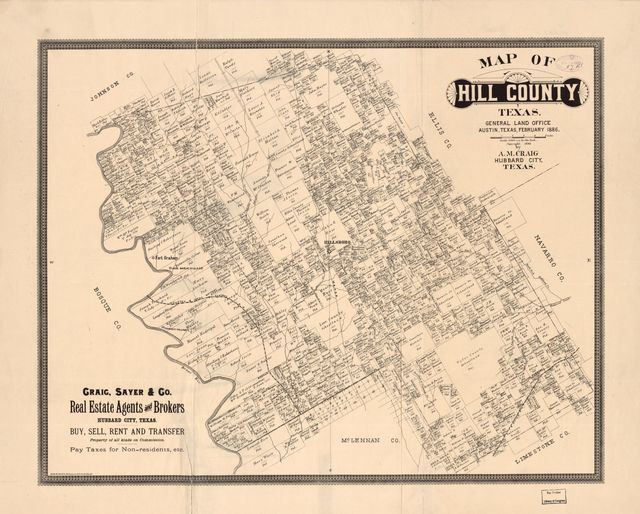 Map of Hill County, Texas : General Land Office, Austin, Texas, February 1886 /