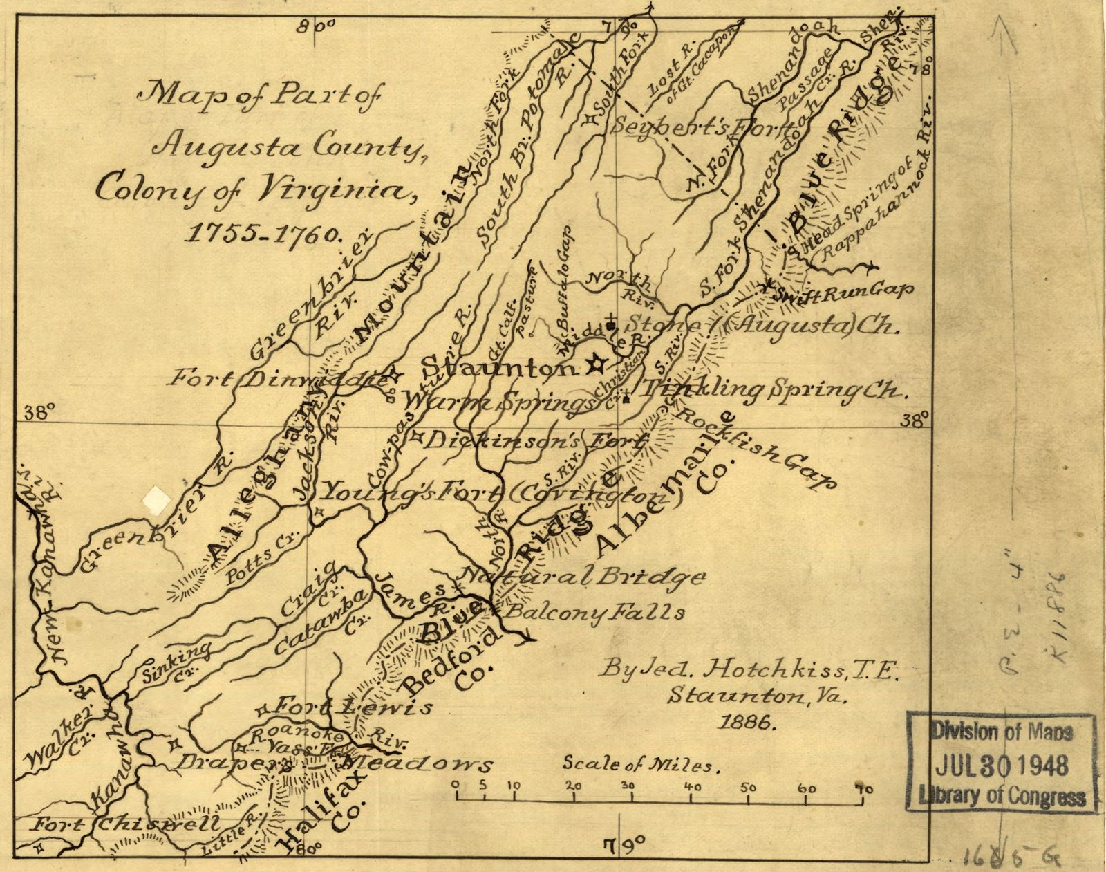 Map Of Part Of Augusta County Colony Of Virginia 1755 1760 Picryl