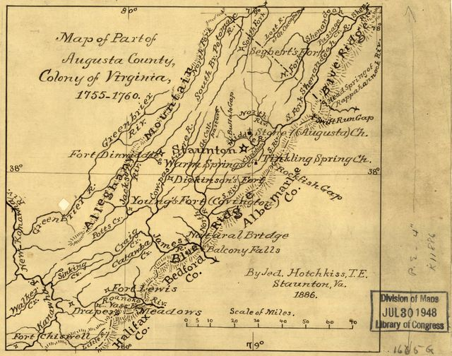 Map of part of Augusta County, Colony of Virginia, 1755-1760