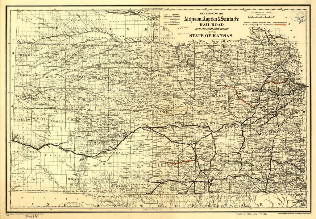 Map showing the Atchison, Topeka & Santa Fé Rail Road and its auxiliary roads in the state of Kansas.