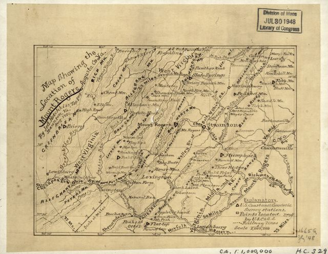 Map showing the location of Mount Rogers, Augusta Co., Va. /