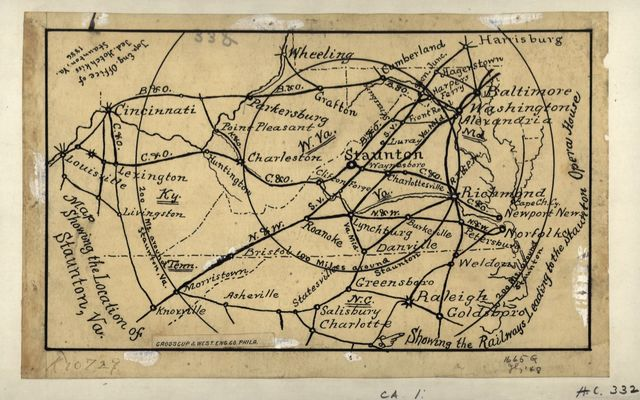 Map showing the location of Staunton, Va. : showing the railways leading to the Staunton Opera House /