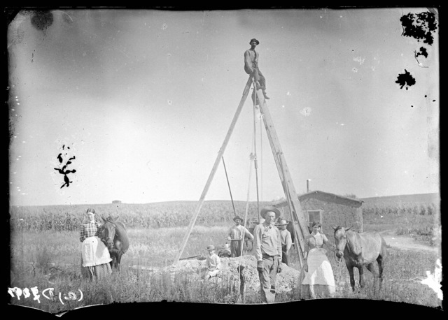 Mr. Moyer digging a well in east Custer County, Nebraska