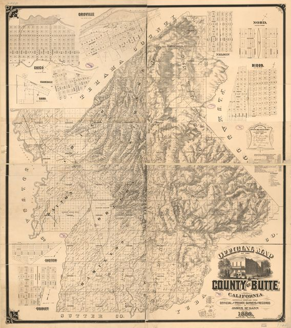 Official map of the county of Butte, California : carefully compiled from official and private surveys and records /