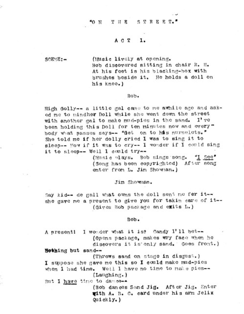 On the street an original sketch in one act and one scene