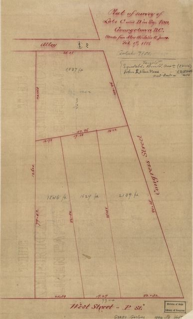 Plat of survey of lots C and D in sq. 100, Georgetown D.C. /