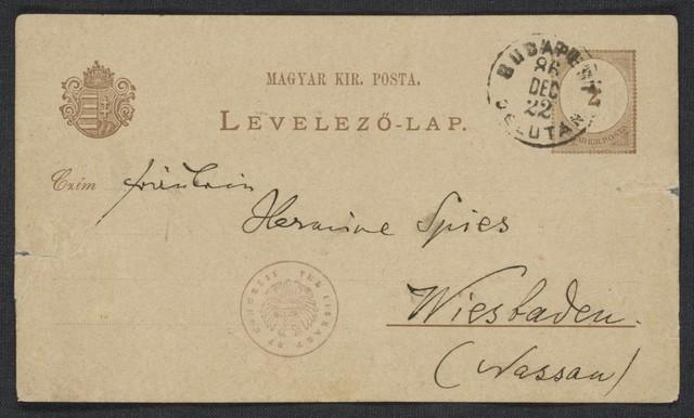 [Postcard, 1886 Dez. 22], Budapest [to] Hermine Spies