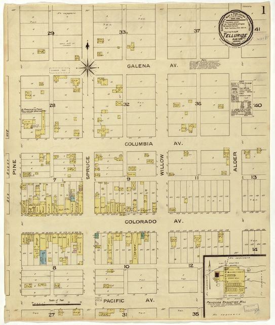 Sanborn Fire Insurance Map from Telluride, San Miguel County, Colorado.