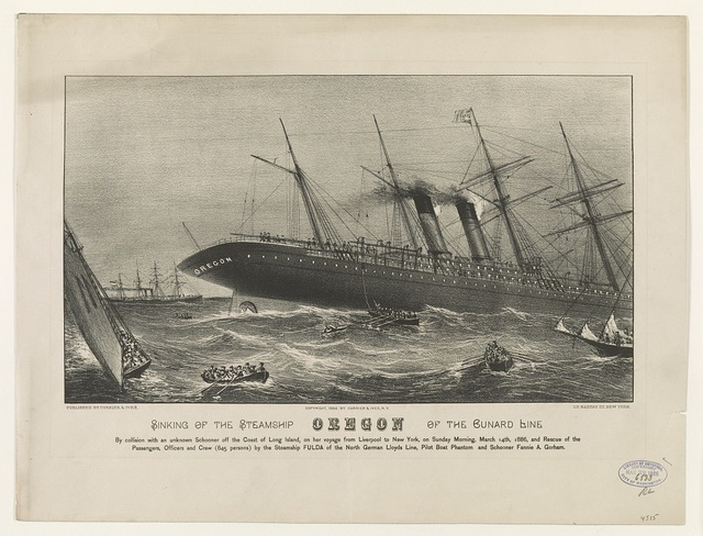 Sinking of the steamship Oregon of the Cunard Line