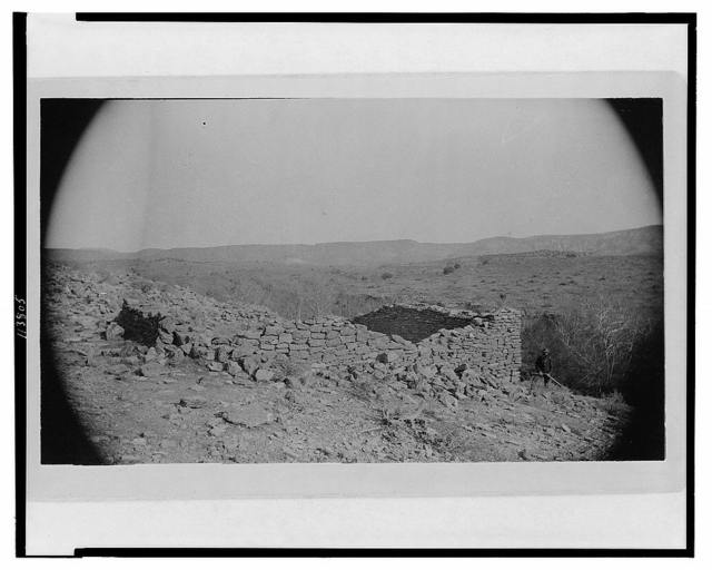 Standing walls of aboriginal ruin on southeast side of Montezuma's Well, overlooking Beaver Creek, Arizona. Viewed from the west, December 13th, 1886 / E.A.M.