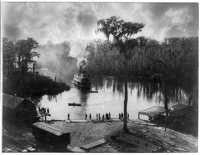 [Steamboat approaching dock, view from the Morgan house, Silver Springs, Florida]
