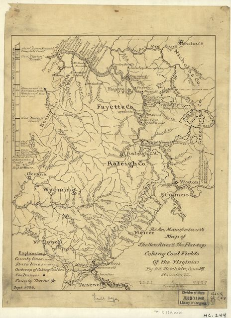 The Am. Manufacturer's map of the New River & the Flat-top coking coal fields of the Virginias /