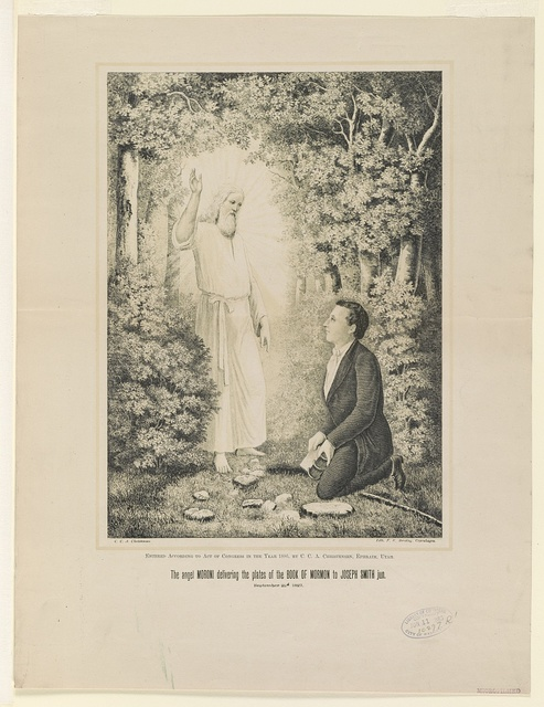The angel Moroni delivering the plates of the Book of Mormon to Joseph Smith jun.