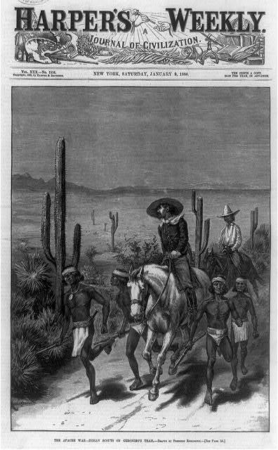 The Apache war--Indian scouts on Geronimo's trail / Remington.