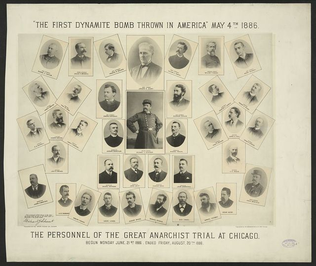 """""""The first dynamite bomb thrown in America"""" May 4th, 1886. The personnel of the great anarchist trial at Chicago. Begun Monday June 21st 1886. Ended Friday, August 20th 1886"""