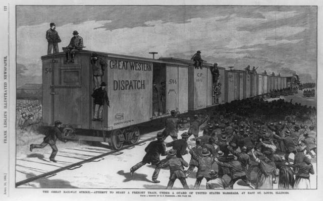 The great railway strike--attempt to start a freight train, under a guard of United States marshals, at East St. Louis, Illinois / from a sketch by G. J. Nebinger.