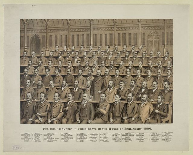 The Irish members in their seats in the House of Parliament, 1886