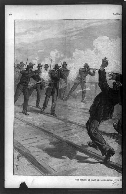 The strike at East St. Louis--firing into the crowd / drawn by T. de Thulstrup.
