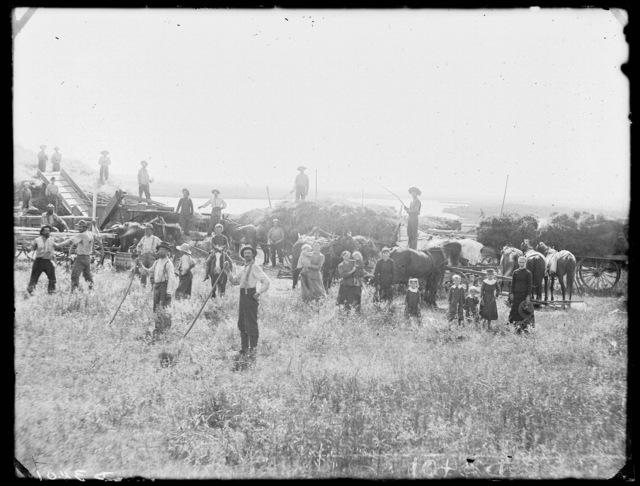 Threshing crew  on Mr. Golson's farm, Custer County, Nebraska.