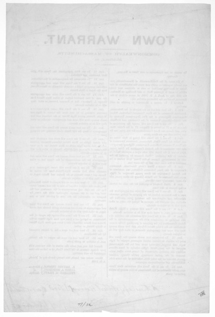 Town warrant. Commonwealth of Massachusetts Middlesex, ss. To either of the constables of the town of Reading. Greeting: [To notify the inhabitants of the election April 5, 1886] ... Given under our hands, this twenty-fourth day of March, A. D.