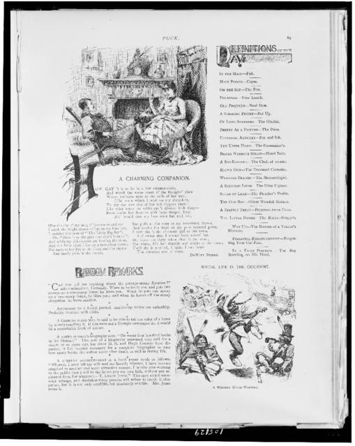 [Two illustrations, one depicting couple lounging in front of fire place, another depicting Native Americans dancing or performing a ceremony and carrying weapons, one drinks from a bottle]