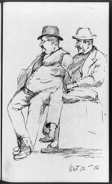 [Two men, full-length, seated, facing left]
