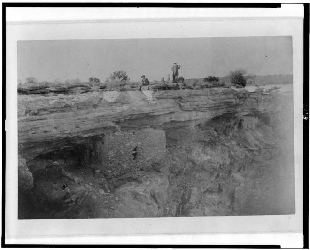 """View of cliff-dwelling on west side of """"Montezuma's Well,"""" Beaver Creek, Arizona, from the south. December 26th, 1886 / E.A.M."""