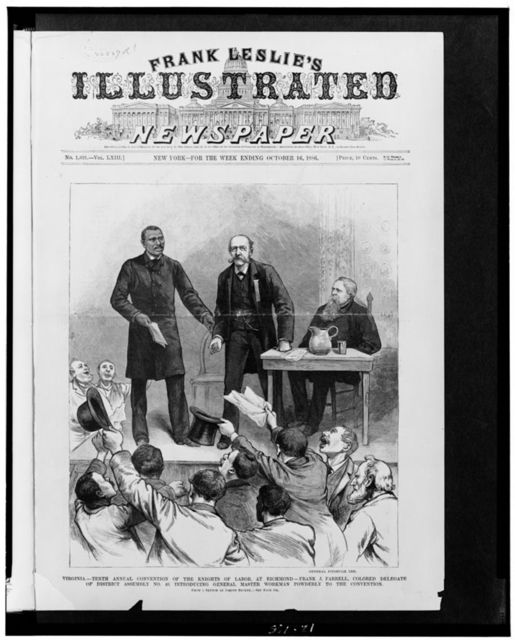 Virginia - tenth annual convention of the Knights of Labor, at Richmond - Frank J. Farrell, colored delegate of District Assembly No. 49, introducing General Master Workman Powderly to the convention / from a sketch by Joseph Becker.