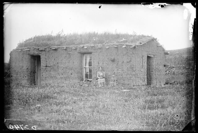 Woman and two small children in front of Fred Shoemaker's sod house, Walworth, Custer County, Nebraska.