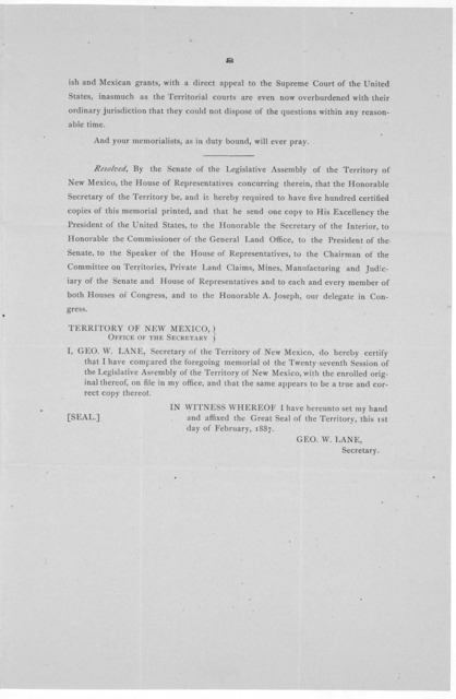27th Legislative Assembly. Territory of New Mexico. Memorial No. 2 ... Memorial to the Senate and House of Representatives of the United States in Congress assembled [Regarding Mexican and Spanish land grants in New Mexico and the adjoining terr