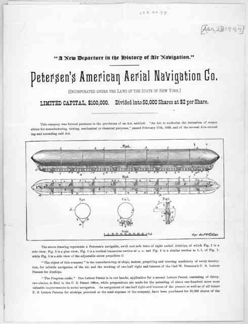 """""""A new departure in the history of air navigation."""" Petersen's American aerial navigation co. Incorporated under the laws of the State of New York. Limited capital, $100,000. Divided into 50,000 shares at $2 per share ... [New York"""