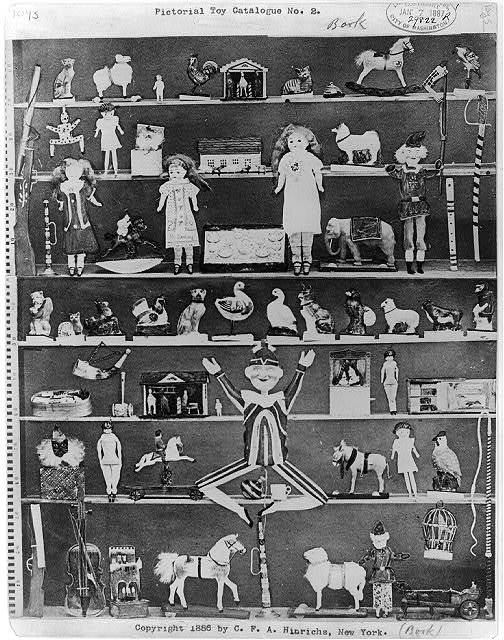 [Advertisement for Pictorial Toy Catalogue No. 2 showing composite of many toys on shelves]