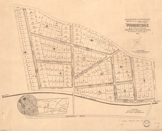 A.P. Fardon & E.B. Townsend's subdivision to be known as Woodridge : being tracts called Barbadoes & Scotland Enlarged in the District of Columbia /