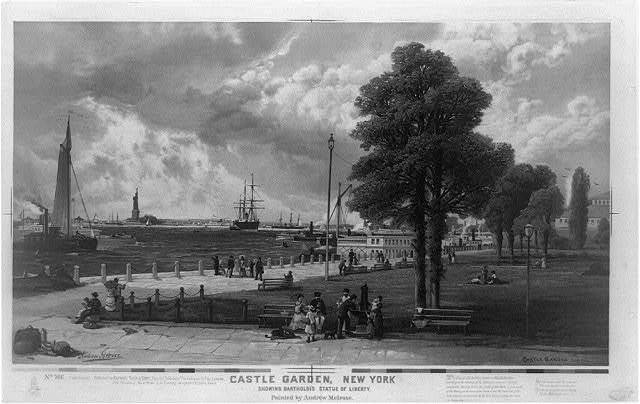 Castle Garden, New York, showing Bartholdi's Statue of Liberty / painted by Andrew Melrose.