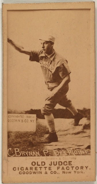 [Charles Brynan, Des Moines Team, baseball card portrait]