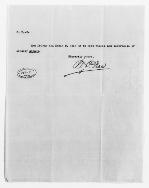 Clara Barton Papers: General Correspondence, 1838-1912; DeGraw, Peter V. and Emma, 1887-1904