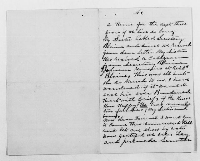 Clara Barton Papers: General Correspondence, 1838-1912; Johnson, Edmund and Della, 1887-1899