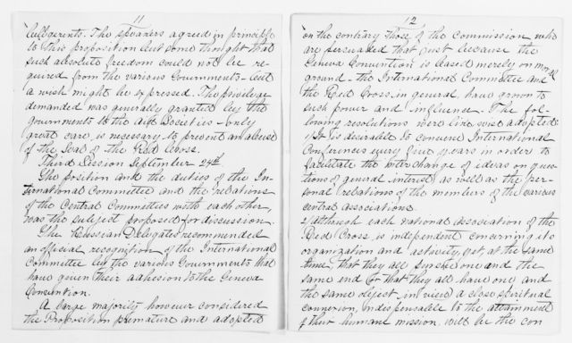 Clara Barton Papers: Red Cross File, 1863-1957; International Committee of the Red Cross, 1863-1919; Conferences; Fourth International Red Cross Conference, Karlsruhe, Germany, Sept. 1887; Miscellany, 1887-1888, undated