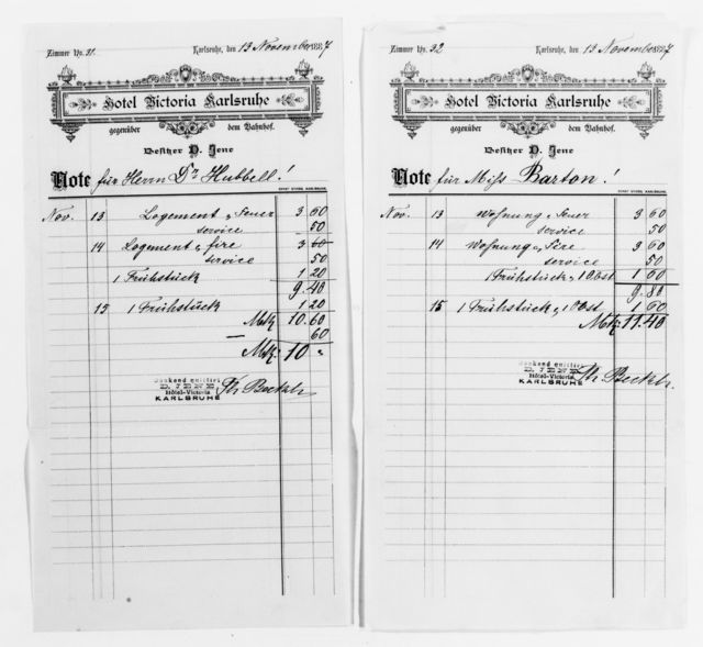 Clara Barton Papers: Red Cross File, 1863-1957; International Committee of the Red Cross, 1863-1919; Conferences; Fourth International Red Cross Conference, Karlsruhe, Germany, Sept. 1887; Bills and receipts, 1887